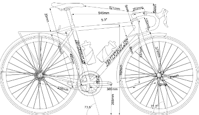 CAD drawing of road bike with measurements
