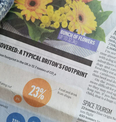 Newspaper article with flowers picture listing some UK carbon emissions