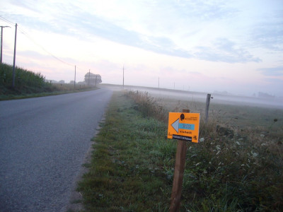 Misty country road with sign pointing to Paris