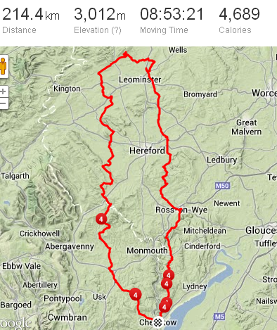 "Full recorded route from Strava.com, along with my stats. Note the minor ""detours"" near Leominster."