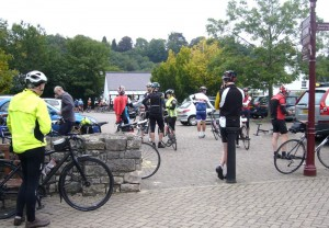 The start. All kinds of cyclists.