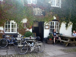 At 160km, a pub is a welcome sight. Notice the angelic glow from above.