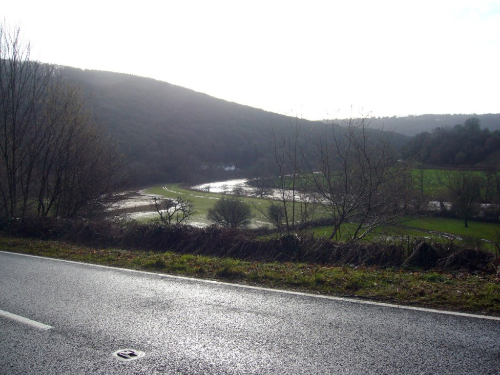 The Wye Valley with flood plains.