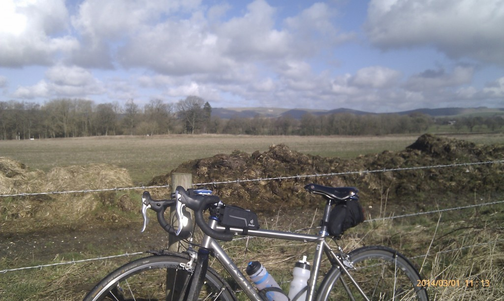 One example of how your brain can go to mush when cycling long distances. There's a tiny white horse in the distance, but I somehow didn't notice the massive pile of poo in the foreground!