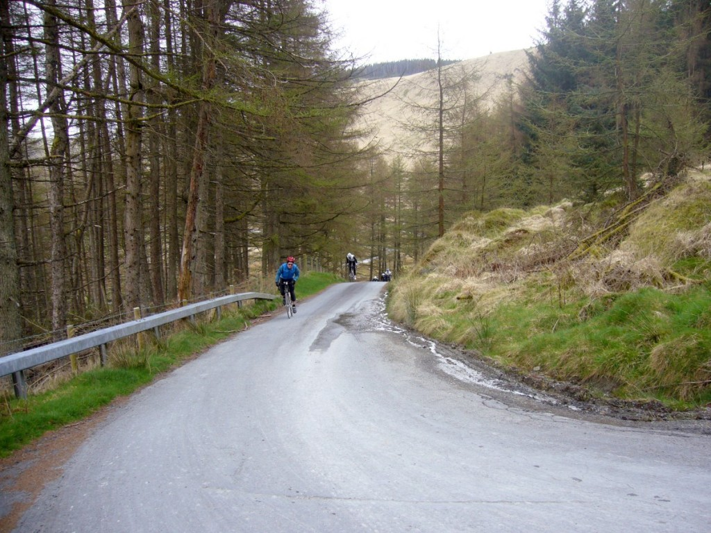 The start of the Devil's Staircase climb. Actually steep enough to look steep.