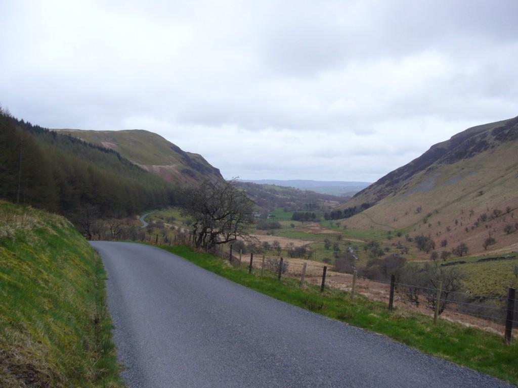 Delightful descent towards Tregaron.