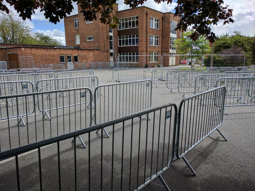 Metal barriers in the car park