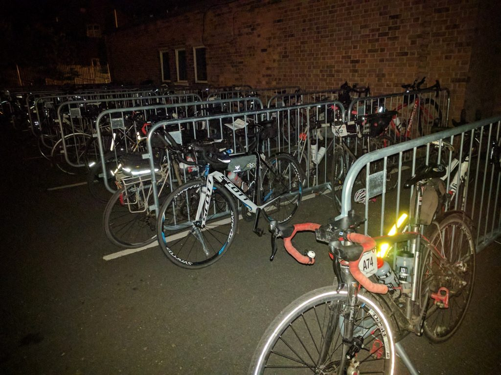 Bikes parked at night
