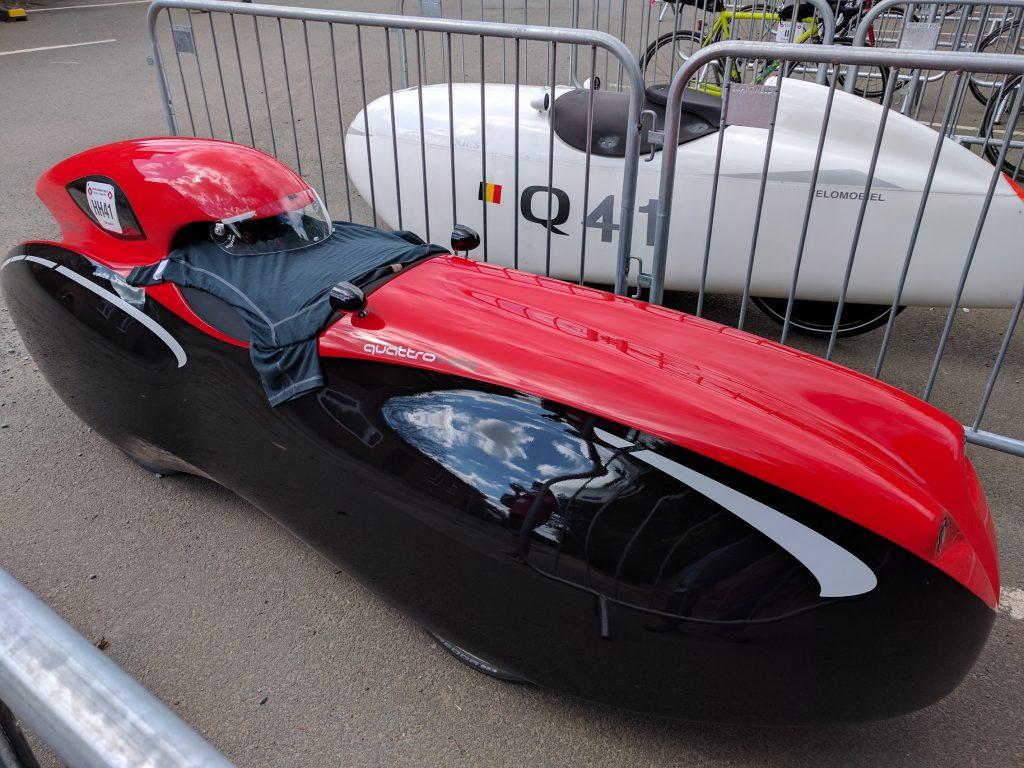 Red velomobile