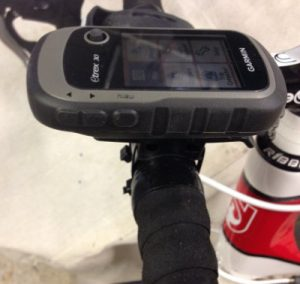 Garmin eTrex 30 mounted on road bike handlebars